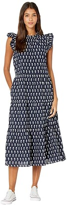 J.Crew Sleeveless Tiered Dress (Ivory/Navy) Women's Dress