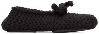 Dolce & Gabbana Black Merino Crochet Slippers