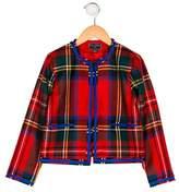 Oscar de la Renta Girls' Wool Plaid Jacket