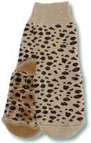 Country Kids Big Girls' Non-Skid Animal Slipper Socks Lulu Leopard, Pack of 1, Fits 6-8 Years