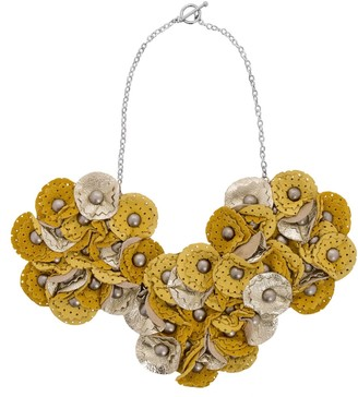 Manley Leather Embellished Sian Necklace - Yellow & Gold