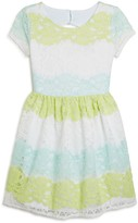 Us Angels Girls' Multicolor Cutout Lace Dress