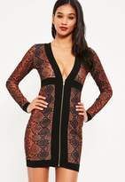 Missguided Crepe Snake Zip Detail Bodycon Dress