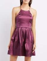 Charlotte Russe Bib Neck Open Back Skater Dress
