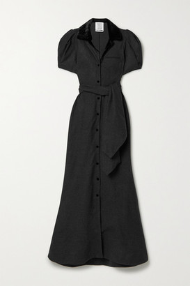Rosie Assoulin Belted Velvet-trimmed Wool Maxi Dress - Charcoal