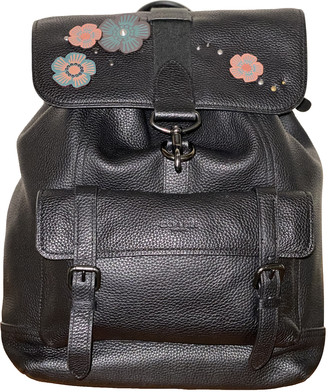 Coach Black Leather Backpacks