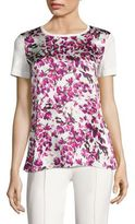 Escada Petal-Print Cotton & Silk Tee