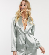Reclaimed Vintage inspired blazer suit jacket in silver metallic