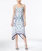 ECI Printed A-Line Handkerchief-Hem Dress