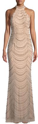La Femme Allover Beaded Gown w/ Open Back