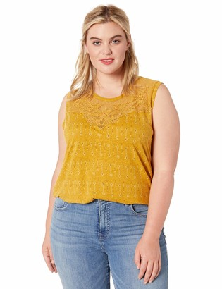 Lucky Brand Women's Plus Size Yellow Embroidered Applique Yoke Tank TOP