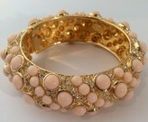 The Well Appointed House Light Pink Stone & Crystal Pave Hinged Gold Bangle Bracelet - IN STOCK IN OUR GREENWICH STORE FOR QUICK SHIPPING