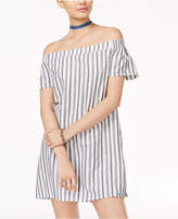 Speechless Juniors' Cotton Off-The-Shoulder Shift Dress
