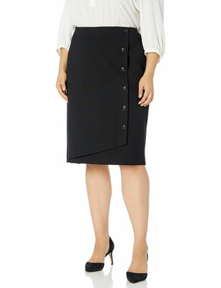 Kasper Women's Plus Size Compression Ponte Skirt with Side Button Detail