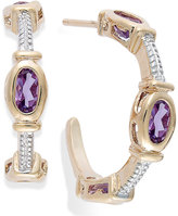 Townsend Victoria Amethyst Cable C-Hoop Earrings in 18k Gold over Sterling Silver (1-3/8 ct. t.w.)