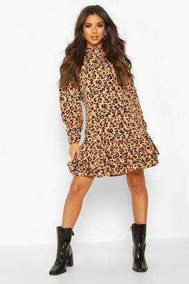 boohoo Leopard Print High Neck Smock Dress