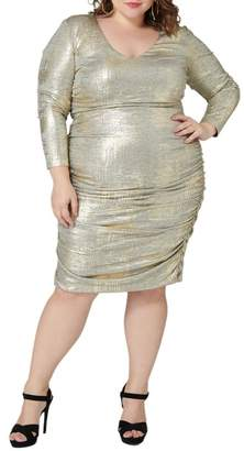 Maree Pour Toi Metallic Ruched Dress (Plus Size)