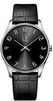 Calvin Klein Classic Stainless Steel Black Leather Strap Watch, K4D211CX