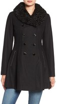 GUESS Women's Fit & Flare Coat With Faux Fur Collar