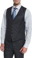 Brioni Plaid Wool Vest, Charcoal/Blue