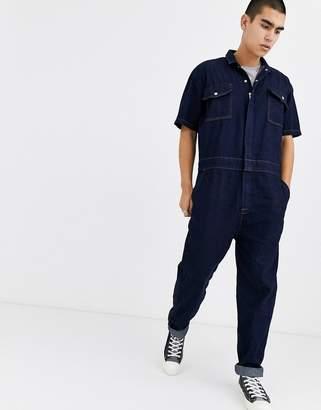 Asos Design DESIGN denim jumpsuit in indigo-Blue