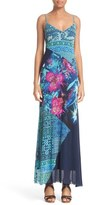 Fuzzi Fern Print Tulle Maxi Dress