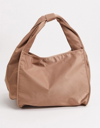 ASOS DESIGN soft knot shoulder tote bag in mink