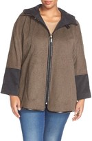 Ellen Tracy Hooded Double Face Swing Coat (Plus Size)