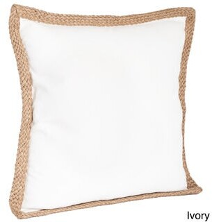 Saro Lifestyle Jute Braided Down Filled Throw Pillow