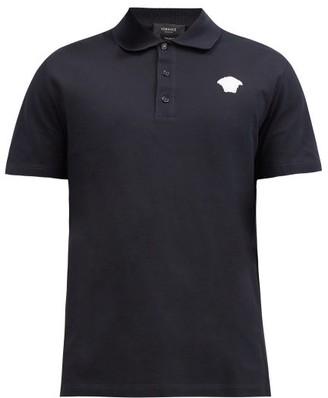 Versace Medusa-embroidered Cotton-pique Polo Shirt - Navy White