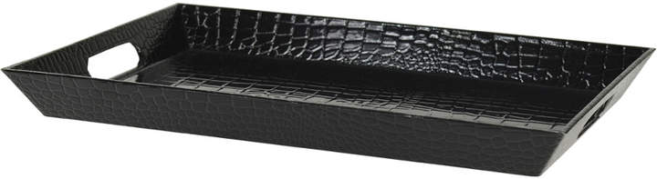 Ten Strawberry Street Black Lacquer Gator Tray