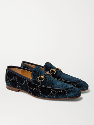Gucci New Jordaan Horsebit Leather-Trimmed Logo-Embroidered Velvet Loafers
