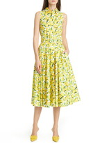 Michael Kors Lemon Print Midi Shirtdress