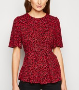New Look Spot Flutter Sleeve Peplum Top