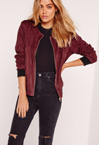 Missguided Contrast Rib Faux Suede Bomber Jacket Burgundy