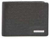 BOSS Men's 'Signature' Bifold Calfskin Leather Wallet - Black