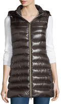 Herno Long Ribbed Fitted Zip-Front Vest w/ Removable Hood