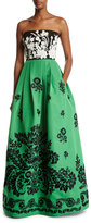 Andrew Gn Embroidered Strapless Faille Ball Gown
