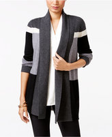 Charter Club Petite Cashmere Colorblocked Cardigan, Only at Macy's