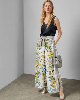 Ted Baker EVANTHE Royal Palm silk wide leg trousers