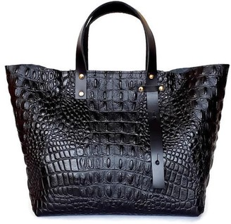 Angela Valentine Handbags A-Line Leather Tote Bag In Black Crocodile Embossed Leather
