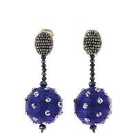 Oscar de la Renta Lapis Polka Dot Sequin Ball Earrings