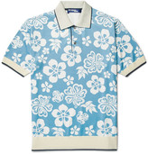 Junya Watanabe Floral-Print Jersey Polo Shirt
