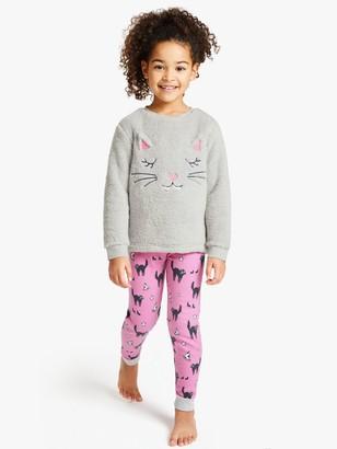 John Lewis & Partners Girls' Cat Fleece Pyjamas, Pink/Grey