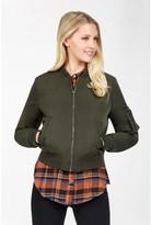 Select Fashion Fashion Womens Green Placket Padded Bomber Jacket - size 6