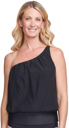 Women's Mazu Swim One-Shoulder Tankini Swim Top with Waist Minimizer