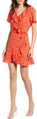 Cupcakes And Cashmere Kiley Leaf Print Wrap Dress