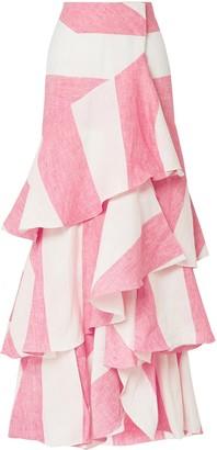Johanna Ortiz Tabasco Ruffled Striped Linen Wrap Maxi Skirt