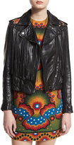 Valentino Fringed Zip-Front Leather Jacket, Black