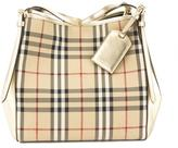 Burberry Gold Horseferry Check Small Canter Tote Bag